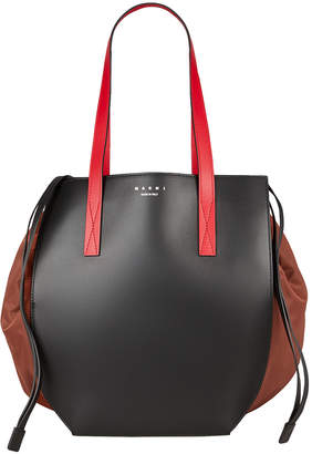 Marni Leather Drawstring Tote Bag