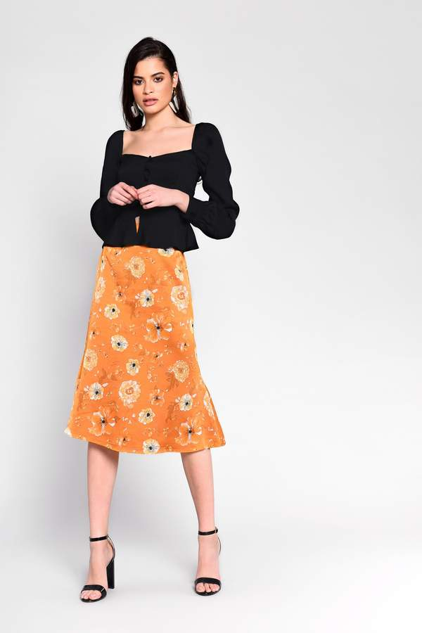 Glamorous Womens **Floral Satin Bias Cut Midi Skirt By Yellow