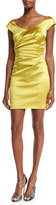 Talbot Runhof Kortney Cap-Sleeve Ruched Cocktail Dress, Mimosa