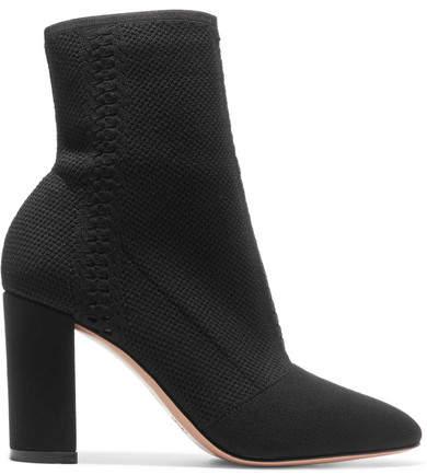 Gianvito Rossi 85 Stretch-knit Sock Boots - Black