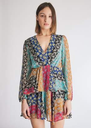 Morgan Farrow Women's Mix Media Dress in Floral Stripe, Size Small