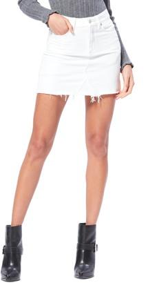 Paige Aideen Raw Hem Denim Miniskirt