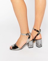 Office Melody Silver Mirror Detailed Heeled Sandals
