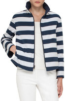 Akris Punto Striped Stand-Collar Jacket, Navy/Cream