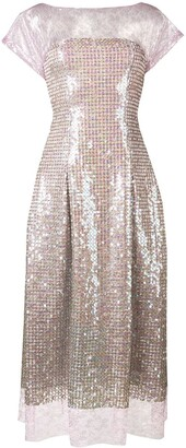 Talbot Runhof Lace And Sequin Midi Dress