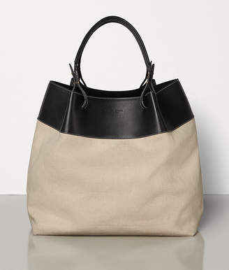Bottega Veneta QUAD TOTE IN IN LINEN AND FRENCH CALF