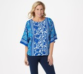 Bob Mackie Mix Floral Print Dolman Sleeve Knit Top