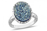 Ice Blue Drusy Oval Sterling Silver Ring
