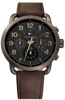 Tommy Hilfiger Men's Briggs Multifunction Leather Watch, 48mm