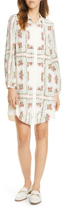 Tory Burch Cora Floral Tile Long Sleeve Silk Shirtdress