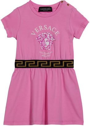 Versace Girl's Medusa Short-Sleeve Dress, Size 12-36M