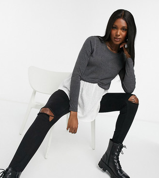 New Look Maternity 2-in-1 jumper with undershirt detail in grey