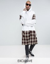 Reclaimed Vintage Inspired Super Oversized Hoodie In White With Tartan Panels