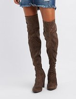 Charlotte Russe Laser Cut Over-The-Knee Boots