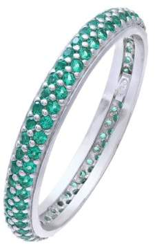 Citerna Rhodium Plated Silver Double Row Green Cubic Zirconia Full Eternity Ring- Size M