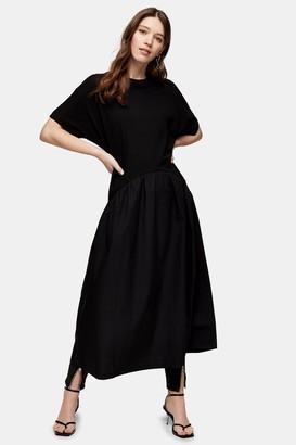 Topshop Womens Black Poplin Mix Midi Chuck On Dress - Black