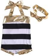 Albee Yang Little Girls 2pcs Swimmable Bikini Swim Bathing Suit+headband