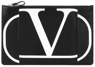Valentino VLOGO leather clutch
