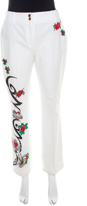 Escada White True Love Heart Embroidered Denim High Waist Jeans M