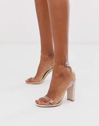 Qupid clear strap heeled sandals-Beige