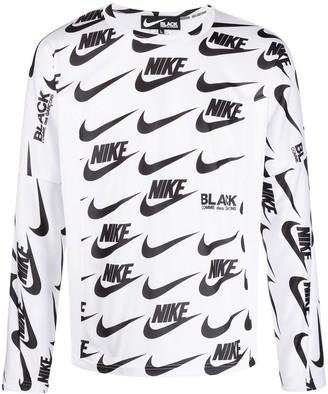 Black Comme Des Garçons x Nike logo long-sleeve top