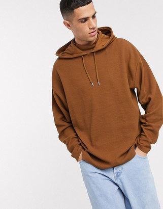 ASOS DESIGN oversized hoodie with side splits in brown waffle fabric