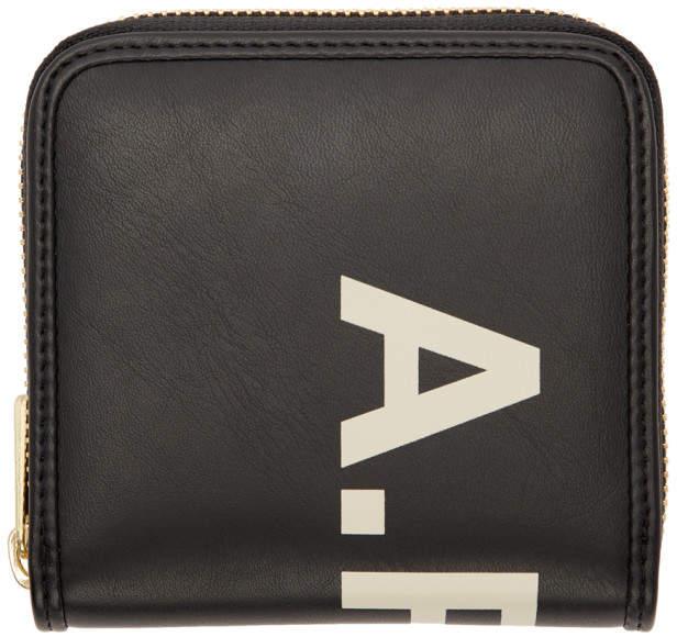 A.P.C. Black Vinyl Logo Compact Wallet