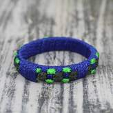 Handcrafted West Africa Folk Tale Bracelet, 'Green Ananse Web'