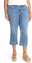 Sejour Plus Size Women's Wide Leg Crop Jeans