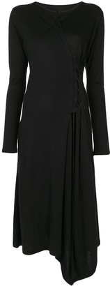 Yohji Yamamoto Fitted Long-Sleeved Midi Dress