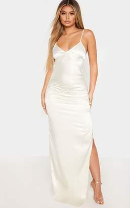 PrettyLittleThing Cream Strappy Satin Ruched Split Leg Maxi Dress