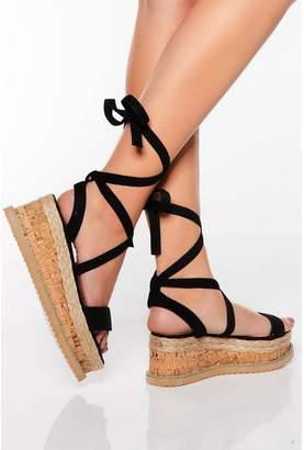 Quiz Black Flatform Sandals