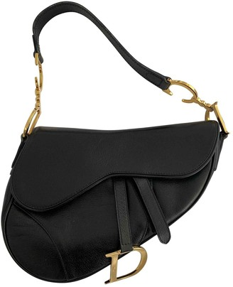 Christian Dior Saddle Black Leather Handbags