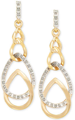 Signature Diamonds Interlocked Teardrop Drop Earrings in 14k Gold over Resin Core Diamond and Crystallized Diamond Dust