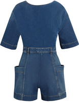 Stella McCartney Open-back Denim Playsuit - Mid denim