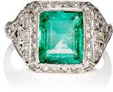 Stephanie Windsor Antiques Women's Emerald & White Diamond Ring