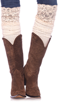 Leg Avenue Ivory Confetti Dot Ribbed Over-The-Knee Slouchy Socks