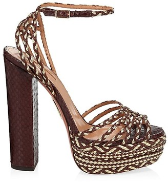 Aquazzura Cozumel Braided Platform Sandals