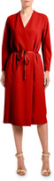Agnona Crepe Long-Sleeve Wrap Dress
