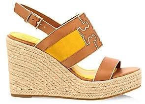 Tory Burch Women's Ines Leather Espadrille Wedge Sandals