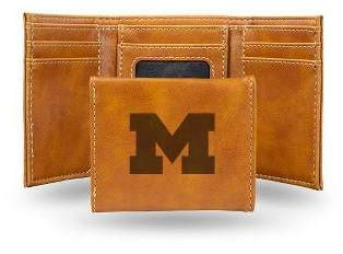 NCAA Michigan Wolverines Laser Engraved Brown Leather Trifold Wallet