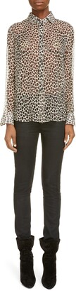 Saint Laurent Leopard Print Silk Chiffon Shirt