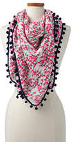 Lands' End Women's Flamingo Square Scarf-Ivory Embroidery