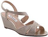 Nina Ellora Metallic Fabric Slingback Wedge Dress Sandals