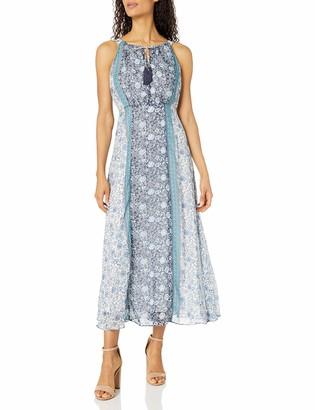 Sandra Darren Women's Sleeveless Hi Multi Chiffon Halter Neck Maxi Dress