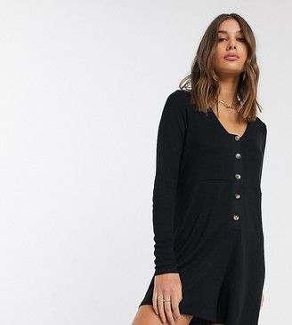 Asos Tall ASOS DESIGN Tall jersey lounge slouchy rib playsuit with button front