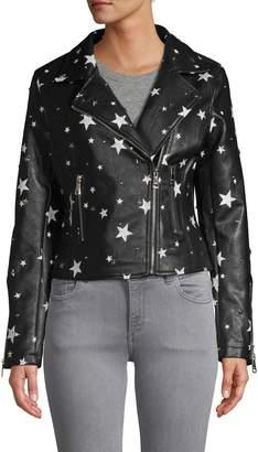 Vigoss Studded Star-Print Faux Leather Jacket