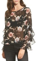 Soprano Women's Floral Print Sheer Top