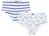 Petit Bateau 2 Pack of White Floral and Stripe Shorties