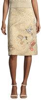 RED Valentino Hummingbird-Embroidered Brocade A-Line Skirt, Oro